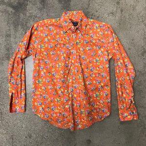 Ralph Lauren Sport Orange Floral Dress Shirt Sz 2